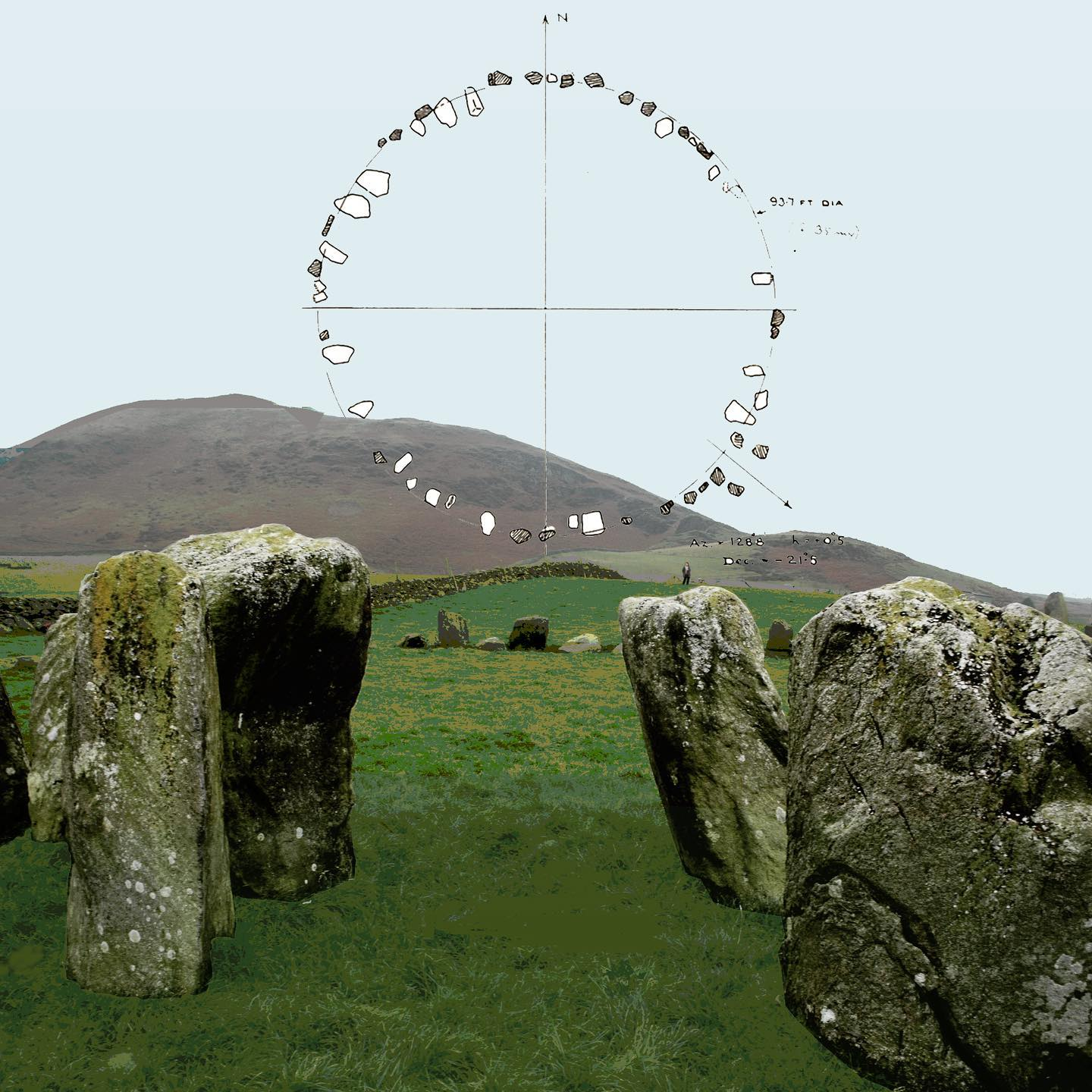 swinside stone circle. portal stone entrance. thom's plan showing south-east portal stones.