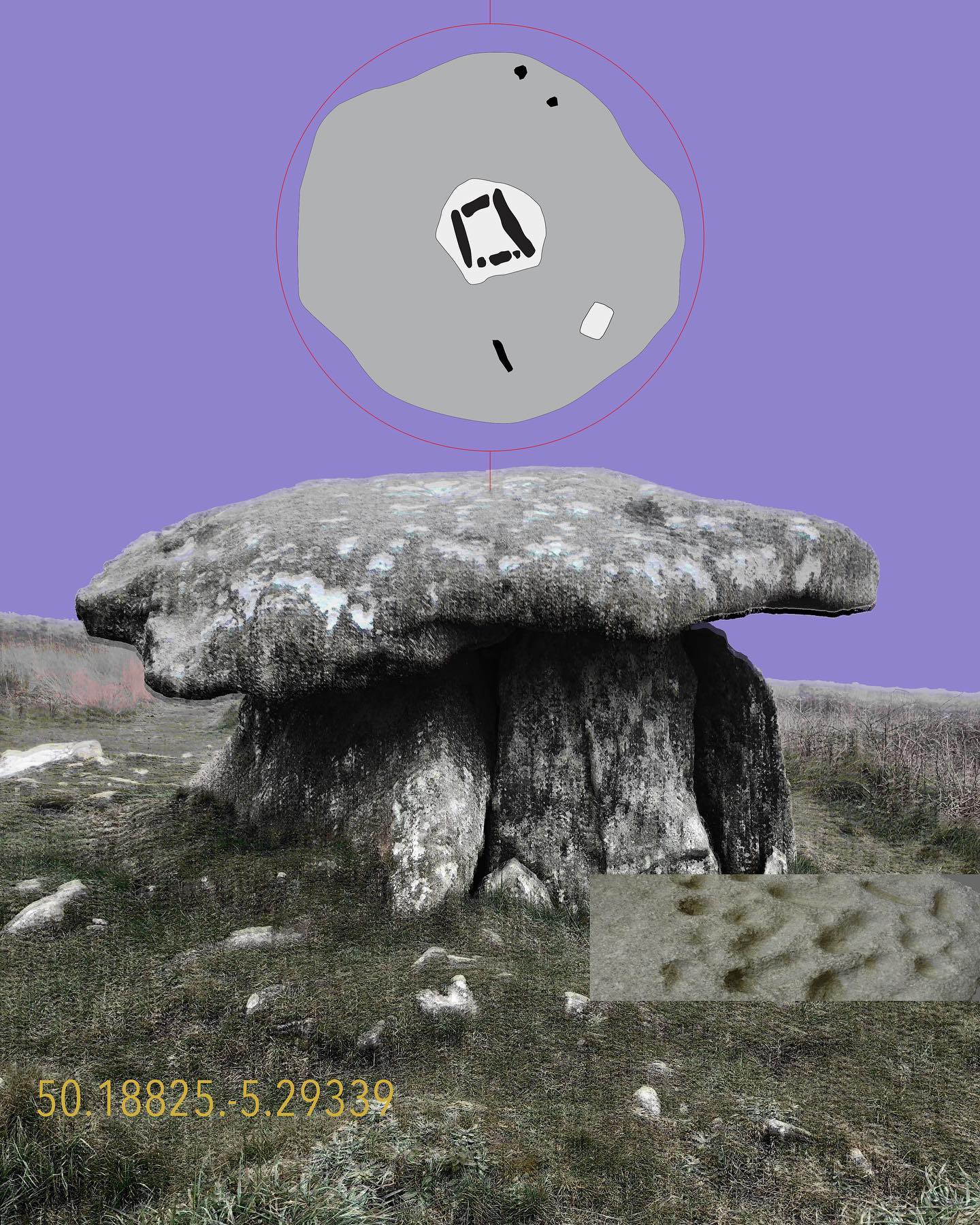 chun quoit. 'theatres of memory'. constructed image. neolithic portal dolmen trevor watkins :they began touse their built environment as a frame of symbolic reference, imbued withmeaning and significance. for thefirst time in human history, they had devised means of embodying abstractconcepts, beliefs and ideas aboutthemselves and their world in externalised, permanent forms. by means ofarchitecture, they constituted notonly frameworks for the social life of the community and its constituent families or households but also'theatres of memory' in which the history of the community, its inhabitants and formerinhabitants, andmuch else was recorded, retained and transmitted. plan: shows approximate extent of low mound, its orientation in relation to due north and the position of the possible burial cist. no remains have been located at the quoit either within the cist or the quoit's chamber. insert: neolithic. cup marked blocking stone at the tregiffian chambered tomb. ...#neolithic #portaldolmen #quoit #dolmen #memory #ancienthistory #archaeology #ancientmonuments #chunquoit #westpenwith #cornwall #ancientarchitecture #prehistory #architecture #constructedimage #montage more at montagecity.com