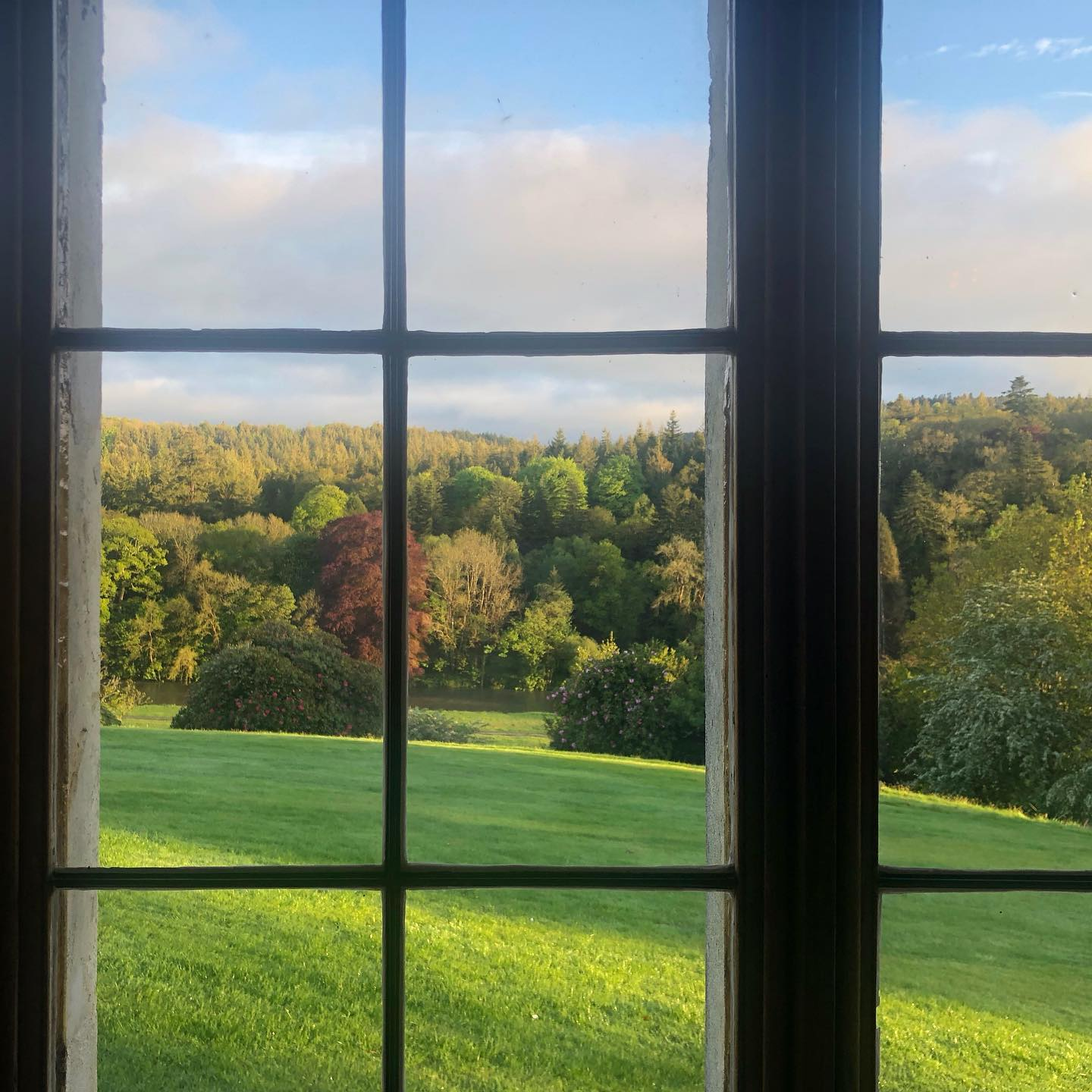 for one night only. endsleigh, humprey repton landscape. through the square(leaded) window. .#weddedwithnature, #humpreyrepton, #dartmoor, #landscape, #throughthelookingglass, #endsleigh, #reptonlandscape, #endoftheday