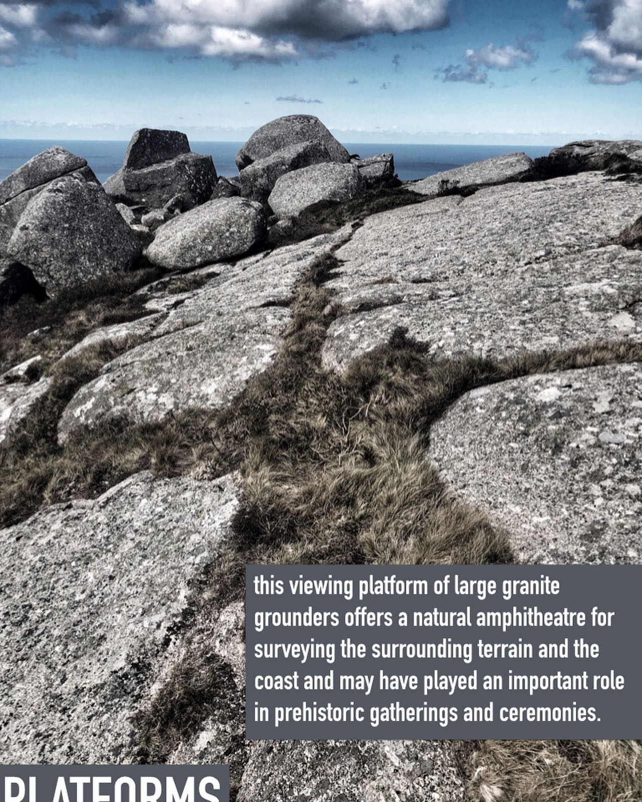 this viewing platform of large granite grounders offers a natural amphitheatre for surveying the surrounding terrain and the coast and may have played an important role in prehistoric gatherings and ceremonies. these special places have always played such a role throughout our human history in marking out the terrain to come together, take respite and to exchange stories and goods.#gathering, #prehistory, #prehistoricsites, #prehistoriclandscape, #exchange, #ancientsites, #ancientsite, #ancientwisdom, #gatheringplaces, #naturalamphitheatre, #ancientamphitheatre, #specialsites, #montagecity.com