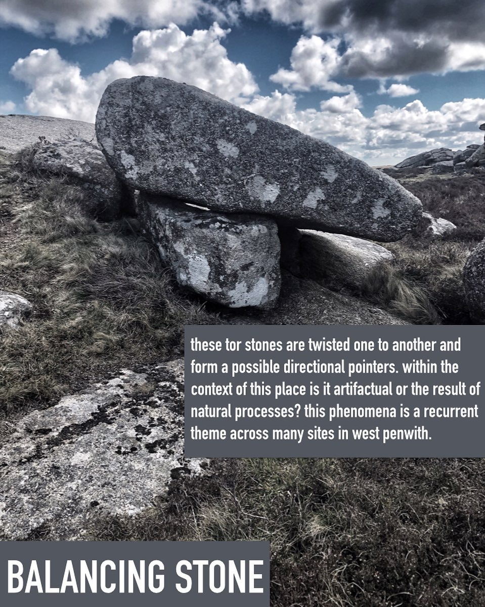 these tor stones are twisted one to another and form a possible directional pointer to a significant landscape or megalithic feature. within the context of this place where there exists so many curated stone features, is it artifactual or the result of natural processes? this phenomena is a recurrent theme across many sites in west penwith.#markingtheplace, #balancingstones, #loganstone, #proppedstone #stonealignments #pointer, #rockbasin, #solutionsbasin,  #sacredwater, #prehistory, #megalith, #ancientwisdom, #projector, #practicalwisdom, #theancestors, #westpenwith, #montagecity.com